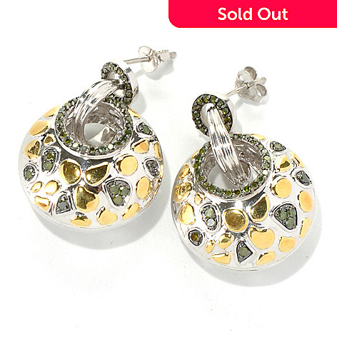 131-534 - Southport Diamonds Sterling Silver & Gold Embraced™ 1.25'' 0.75ctw Diamond Earrings