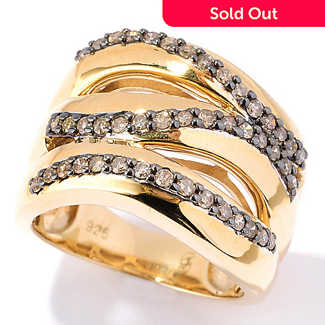 131-538 - Southport Diamonds 0.50ctw Round Cut Champagne Diamond Split Wave Wide Ring
