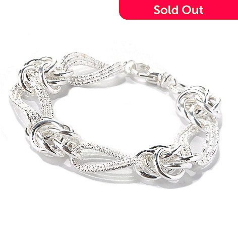 131-551 - SempreSilver™ Textured Oval Fancy Link Bracelet