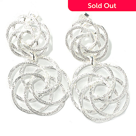 131-552 - SempreSilver® 1.75'' Textured & Satin Finished Open Weave Drop Earrings