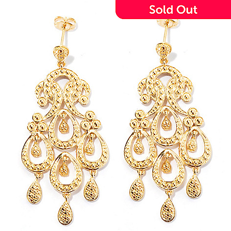 131-555 - Jaipur Jewelry Bazaar™ Gold Embraced™ 2'' Diamond Chandelier Earrings