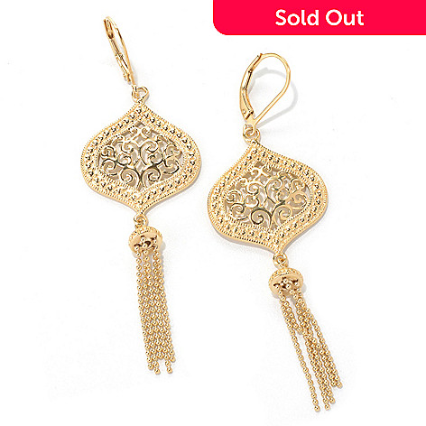 131-557 - Jaipur Jewelry Bazaar™ Gold Embraced™ 2.75'' Ornate Beaded Tassel Drop Earrings