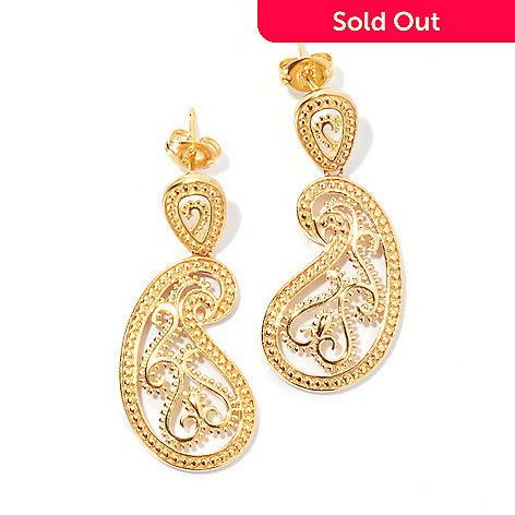 131-561 - Jaipur Jewelry Bazaar™ Gold Embraced™ 1.25'' Textured Ornate Paisley Drop Earrings