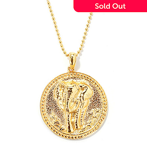 131-562 - Jaipur Bazaar Gold Embraced™ Textured Elephant Medallion Pendant w/ 18'' Chain