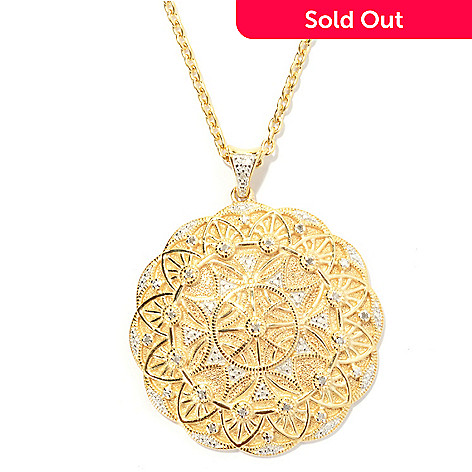 131-564 - Jaipur Jewelry Bazaar™ Gold Embraced™ 0.10ctw Diamond Ornate Medallion Pendant w/ Chain
