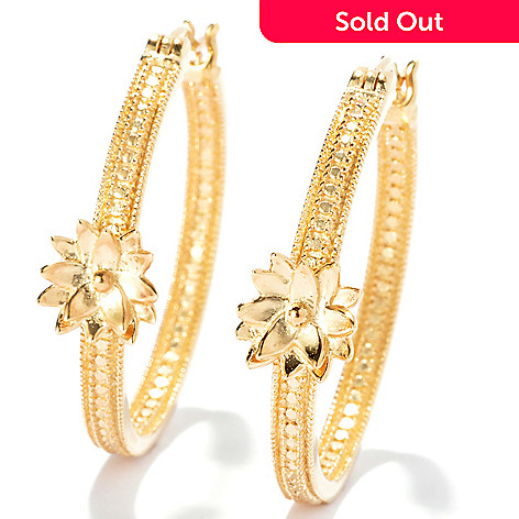 131-565 - Jaipur Jewelry Bazaar™ Gold Embraced™ 1.25'' Textured & Polished Flower Hoop Earrings