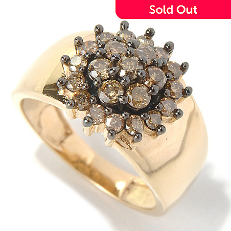 131-566 - Diamond Treasures 14K Gold 1.00ctw Brilliant Cut Champagne Diamond Flower Ring