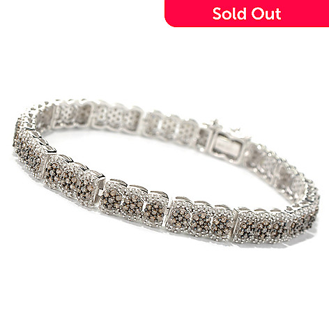 131-567 - Diamond Treasures Sterling Silver 3.30ctw Champagne & White Diamond Link Bracelet