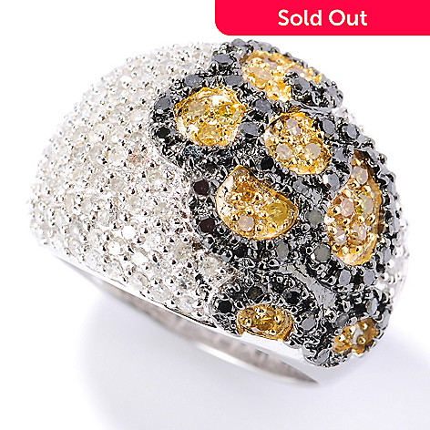 131-571 - Diamond Treasures® Sterling Silver 1.50ctw White, Yellow & Black Diamond Dome Ring