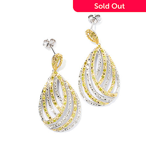 131-574 - Diamond Treasures® Sterling Silver 1.5'' 1.00ctw White & Yellow Diamond Drop Earrings