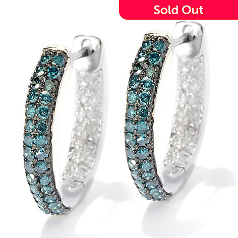 131-576 - Diamond Treasures Sterling Silver 1.00ctw Fancy Color Diamond Hoop Earrings
