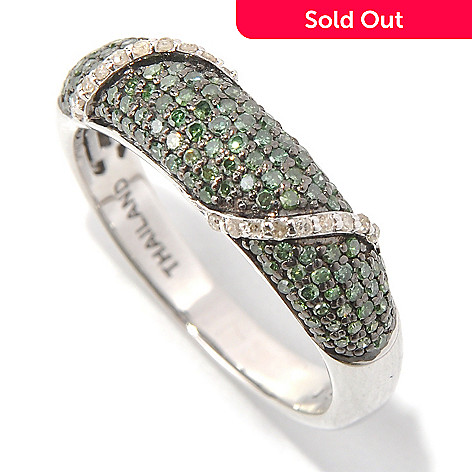 131-579 - Diamond Treasures® Sterling Silver 0.50ctw Green & White Diamond Overlay Band Ring