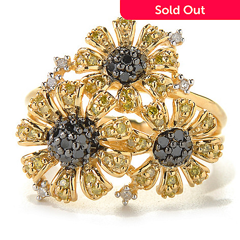 131-580 - Diamond Treasures® Gold Embraced™ 0.50ctw Multi Color Diamond Daisy Trio Ring