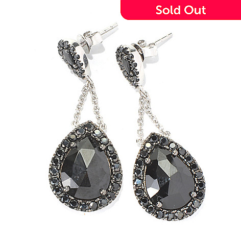 131-594 - NYC II™ 1.5'' 14 x 10mm Black Spinel Teardrop Earrings