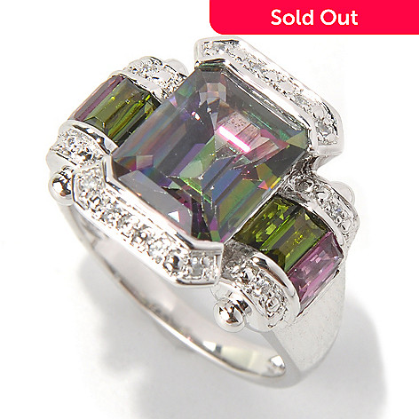 131-595 - NYC II 5.35ctw Emerald Cut Mystic Topaz & Multi Gem Ring