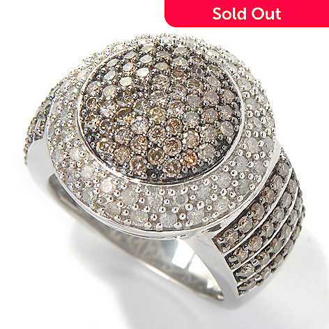 131-600 - Diamond Treasures® Sterling Silver 1.98ctw Champagne & White Diamond Bordered Dome Ring