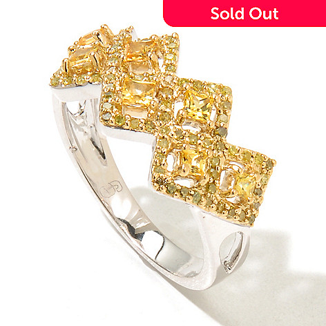 131-602 - Diamond Treasures® 0.64ctw Fancy Sapphire & Fancy Color Diamond Zigzag Band Ring