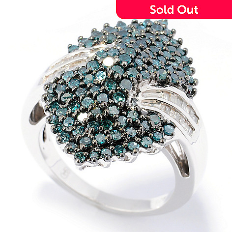 131-603 - Diamond Treasures® Sterling Silver 1.50ctw Blue & White Diamond Marquise Ring