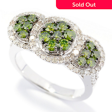 131-604 - Diamond Treasures® Sterling Silver 1.50ctw Green & White Diamond Three-Station Ring
