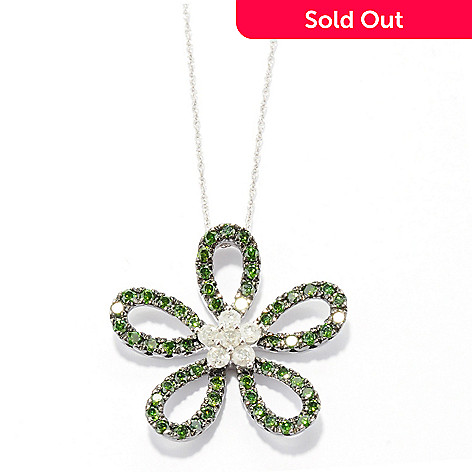131-605 - Diamond Treasures Sterling Silver 1.95ctw Green & White Diamond Daisy Pendant