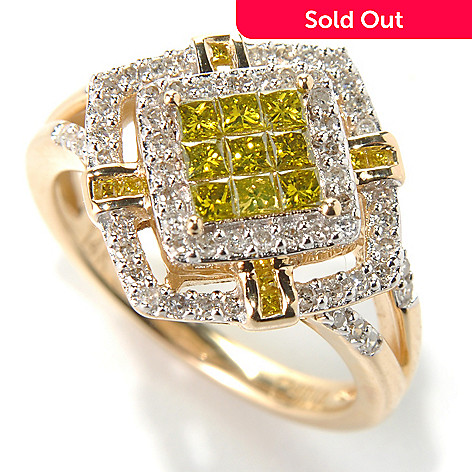 131-606 - Diamond Treasures 14K Gold 0.55ctw Invisible Set Yellow & White Diamond Ring
