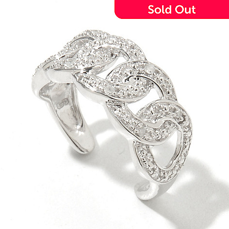 131-612 - Diamond Treasures® Sterling Silver 0.03ctw Fancy Diamond Toe Ring