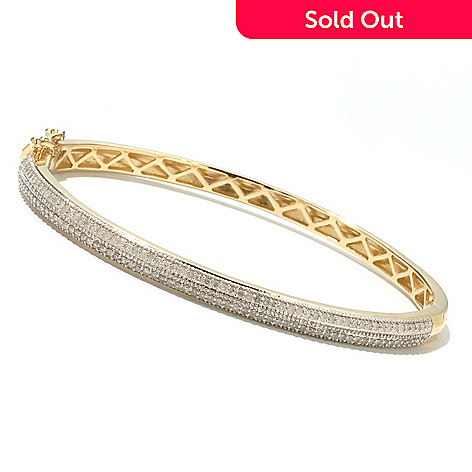 131-613 - Diamond Treasures 14K Gold Round Diamond Pave Set Bangle Bracelet