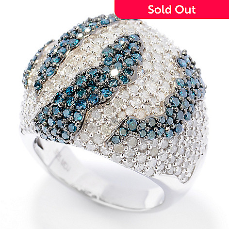 131-614 - Diamond Treasures Sterling Silver 4.29ctw White & Blue Diamond Dome Ring