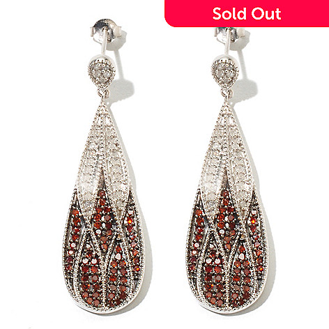 131-615 - Diamond Treasures Sterling Silver 1.05ctw Red & White Diamond Drop Earrings