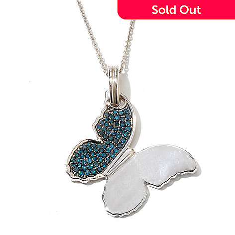 131-619 - Diamond Treasures Sterling Silver 0.70ctw Blue Diamond Butterfly Enhancer Pendant
