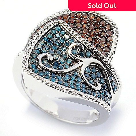 131-622 - Diamond Treasures Sterling Silver 0.92ctw Red & Blue Diamond Overlap Ring