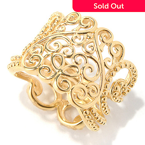 131-625 - Jaipur Jewelry Bazaar™ Gold Embraced™  Ornate Design Wide Band Ring