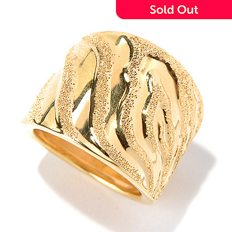 131-644 - Scintilloro™ Gold Embraced™ Animal Print Textured Wide Band Ring