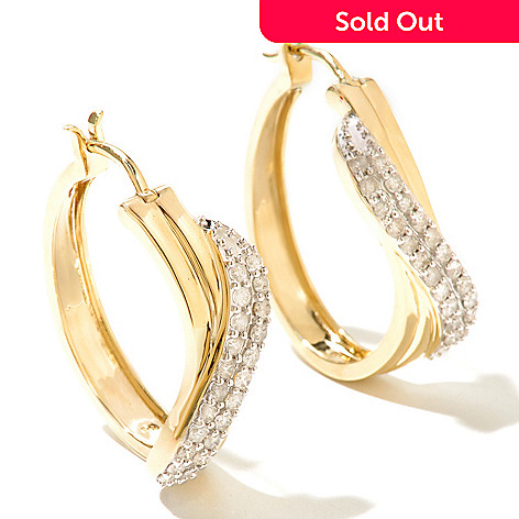 131-649 - Diamond Treasures® 14K Gold 1.25'' 1.00ctw Diamond Crossover Hoop Earrings