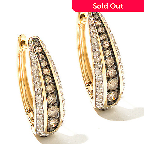131-650 - Diamond Treasures 14K Gold 0.76ctw Champagne & White Diamond Hoop Earrings