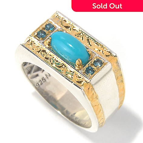 131-652 - Men's en Vogue 10 x 5mm Sleeping Beauty Turquoise & London Blue Topaz Hammered Ring