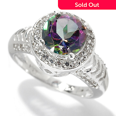 131-669 - Gem Treasures® Sterling Silver 2.20ctw Topaz ''Kellie Anne'' Round Halo Ring