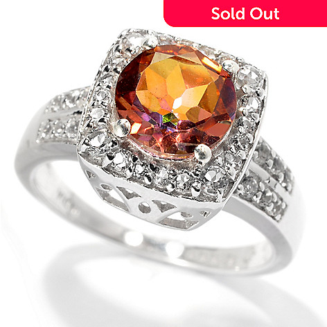 131-670 - Gem Treasures Sterling Silver 2.44ctw Topaz ''Kellie Anne'' Cushion Halo Ring