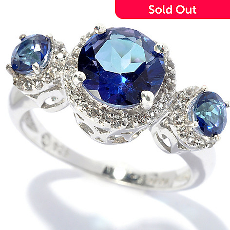 131-671 - Gem Treasures Sterling Silver 2.75ctw Topaz ''Kellie Anne'' Three-Stone Ring