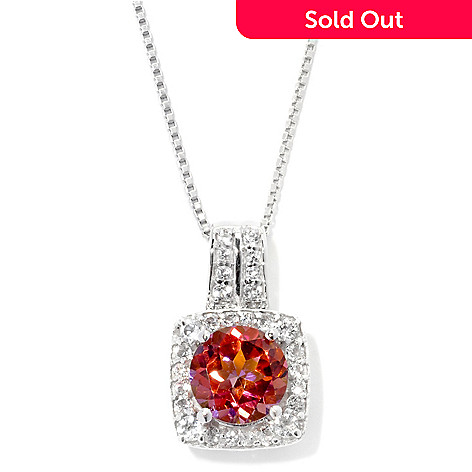131-672 - Gem Treasures® Sterling Silver 2.45ctw Topaz ''Kellie Anne'' Halo Pendant w/ Chain