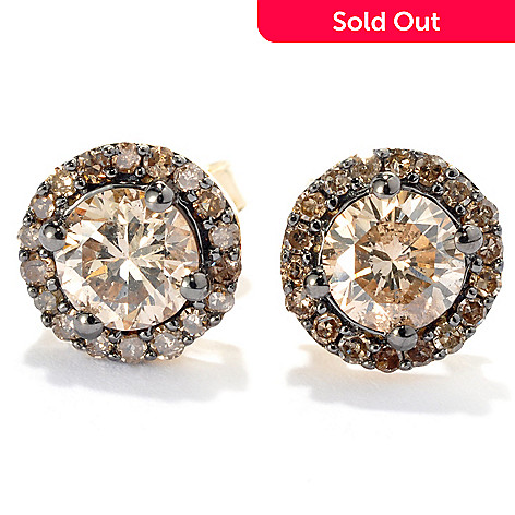 131-674 - 14K Gold 0.98ctw Champagne Argyle Diamond Halo Stud Earrings