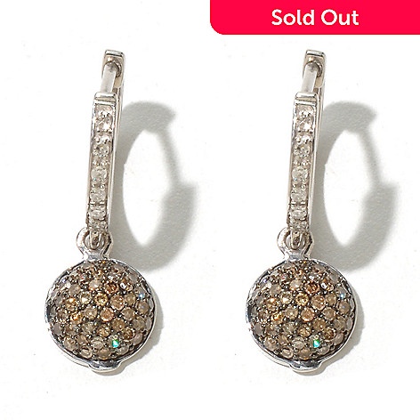 131-676 - Sterling Silver 0.75ctw White & Champagne Argyle Diamond Drop Earrings