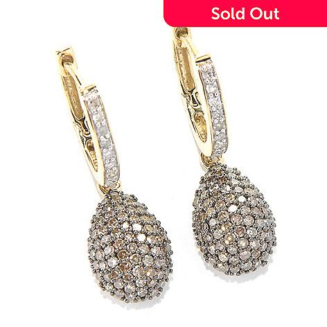 131-677 - 14K Gold 0.82ctw Champagne & White Argyle Diamond Teardrop Earrings