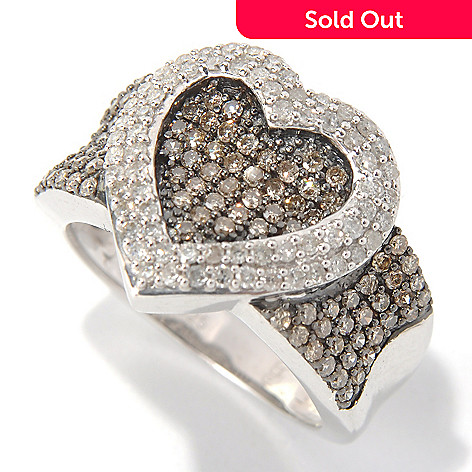 131-680 - Sterling Silver 1.04ctw Champagne & White Argyle Diamond Heart Overlay Ring