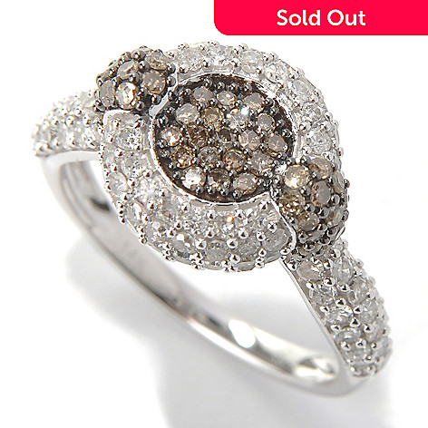 131-682 - 14K White Gold 1.48ctw White & Champagne Argyle Diamond Halo Ring