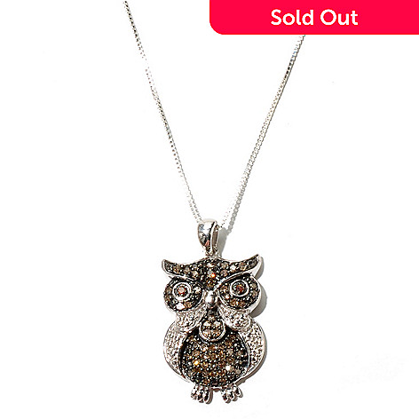 131-685 - Sterling Silver 0.55ctw Fancy Color Argyle Diamond Owl Pendant w/ Chain