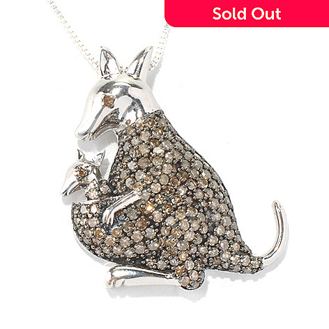 131-686 - Sterling Silver 1.50ctw Champagne & Red Argyle Diamond Kangaroo Pendant w/ Chain