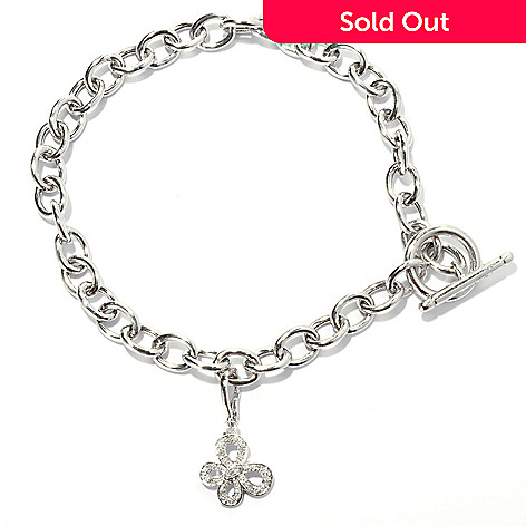 131-687 - Diamond Treasures® Sterling Silver 0.05ctw Diamond Butterfly Charm Toggle Anklet