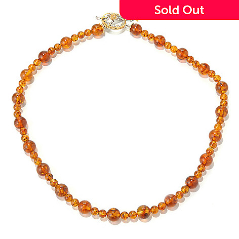 131-691 - Gems en Vogue 20'' Baltic Amber Bead & Orange Sapphire Toggle Necklace