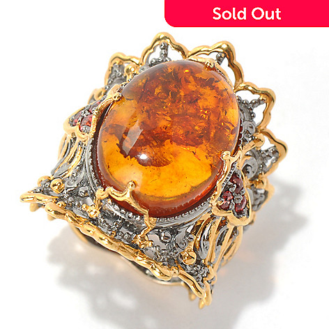 131-693 - Gems en Vogue 16 x 12mm Baltic Amber & Orange Sapphire Wide Band Ring
